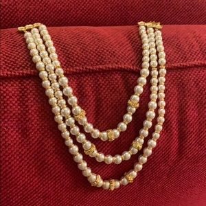 Vintage 3 Strand Pearl, Crystals & Gold Necklace